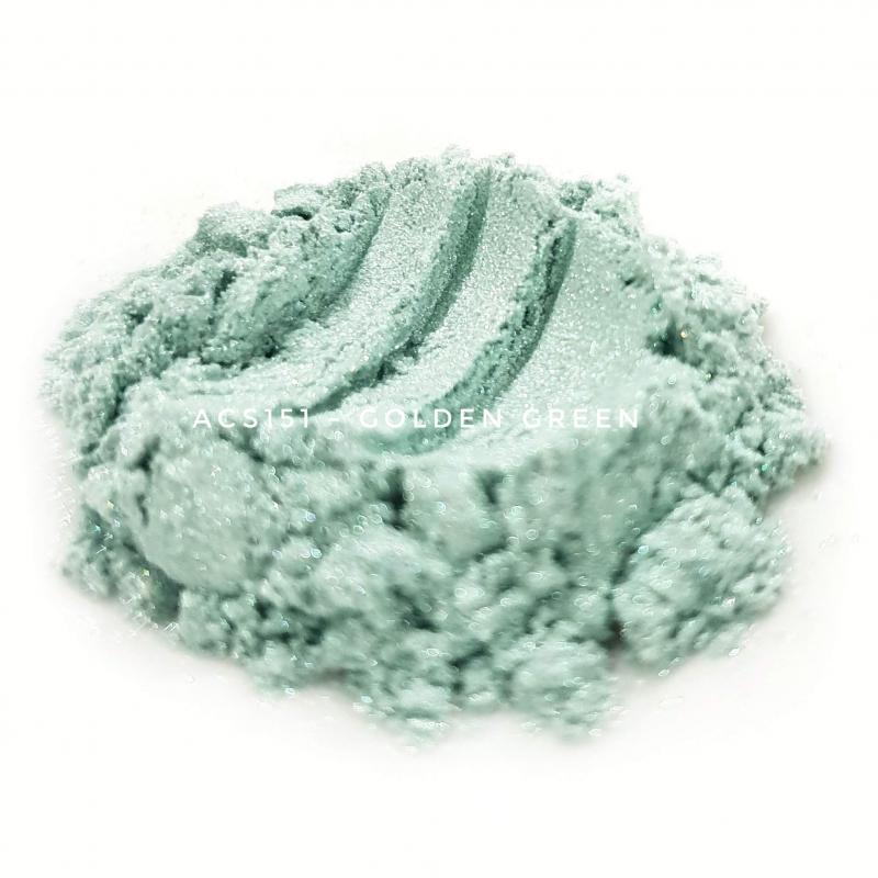 Косметический пигмент ACS151 Golden Green (Золотисто-зеленый), 10-60 мкм