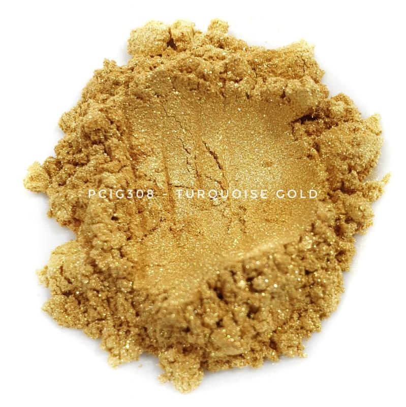 Косметический пигмент PCIG308 Turquoise Gold (Бирюзовое золото), 10-60 мкм